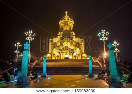 The biggest orthodox cathedral of Caucasus region - Sameba cathedral in Tbilisi at night Republic of Georgia.