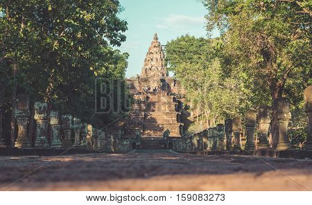 sand stone castle phanomrung in Buriram province Thailand. Religious buildings constructed by the ancient Khmer art Phanom rung national park in North East of Thailand vintage