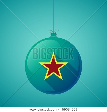 Long Shadow Christmas Ball With  The Red Star Of Communism Icon