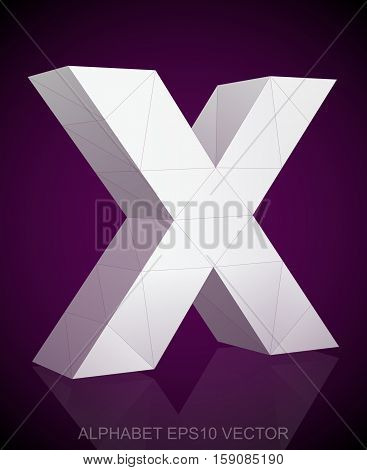 Abstract White 3D polygonal lowercase letter X with reflection. Low poly alphabet collection. EPS 10 vector illustration.