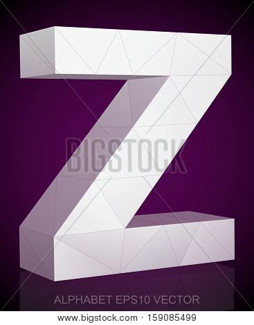Abstract White 3D polygonal lowercase letter Z with reflection. Low poly alphabet collection. EPS 10 vector illustration.