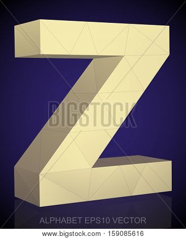 Abstract Yellow 3D polygonal lowercase letter Z with reflection. Low poly alphabet collection. EPS 10 vector illustration.