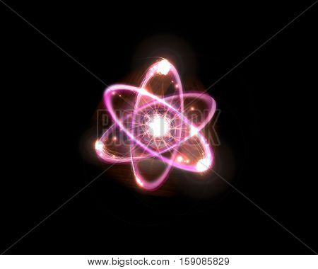 Close up of pink atomic particle background science 3D illustration