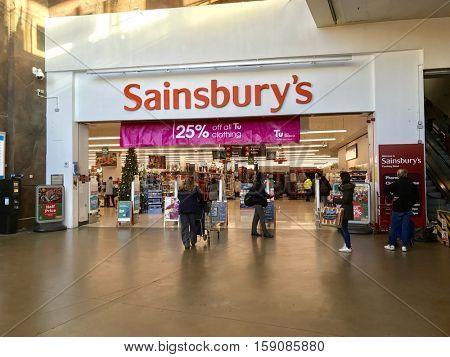 LONDON - NOVEMBER 29: Front entrance to Sainsbury's Finchley Road Supermarket on November 29, 2016 in London, UK.