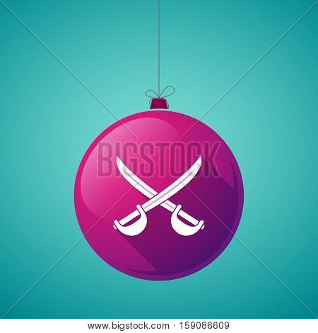 Long Shadow Christmas Ball With  Two Swords Crossed