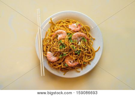 Chinese food tasty shrimp lo mein noodles at restaurant