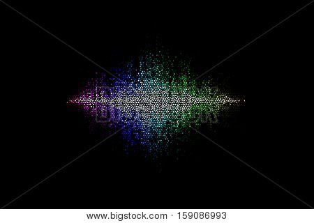 Colorful visual neon soundwave 3D illustration abstract background
