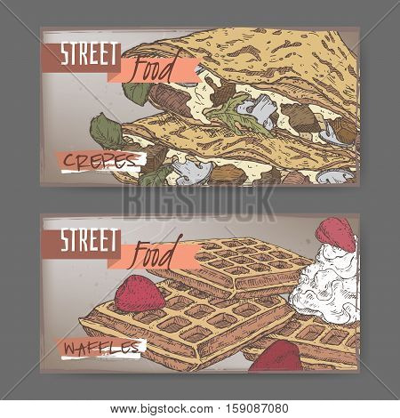 Set of two color landscape banners with crepes and Liege waffles. French and Belgian cuisine. Street food series. Great for market, restaurant, cafe, food label design.