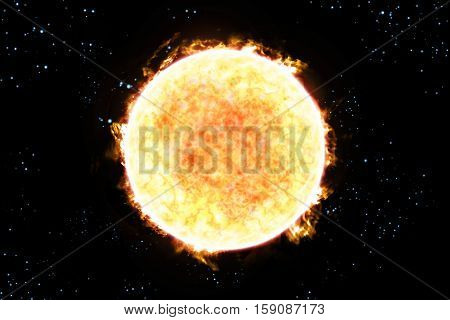 Giant colorful sun with star scape 3D illustration