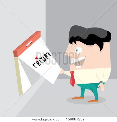 thanks god its friday concept with cartoon businessman office manager. i love friday - vector illustration