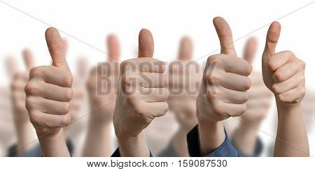 Many Thumbs Up On White Background. Success And Consent Concept.