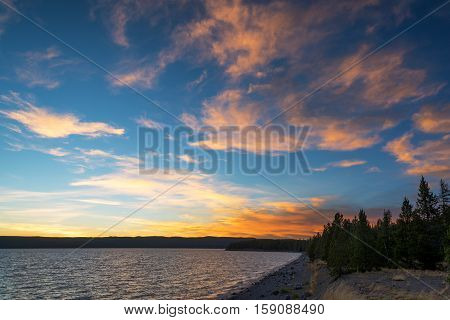 Sunset And Yellowstone Lake Lakeshore