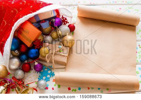 Santa Hat With Gifts For Christmas And Wishlist
