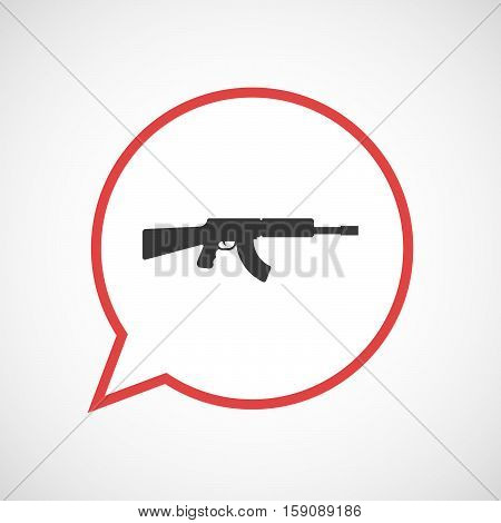 Isolated Balloon With  A Machine Gun Sign