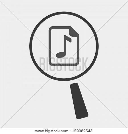 Isolated Magnifier With  A Music Score Icon