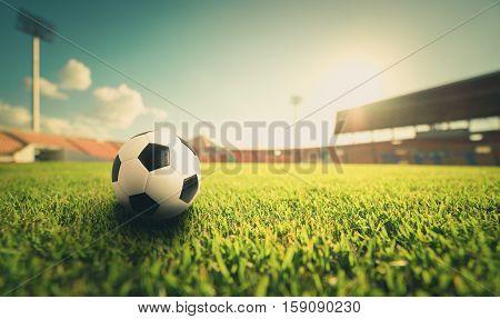 Soccer Ball On The Grass In Soccer Stadium , Vintage