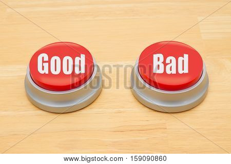 The difference between good and bad Two red and silver push button on a wooden desk with text Good and Bad