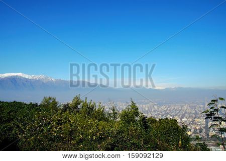 Panoramic view of Santiago de Chile from Cerro San Cristobal with the Andes in the background in Chile, South America