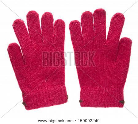 Knitted Gloves. Gloves Isolated On White Background. Gloves A Top View.red Gloves