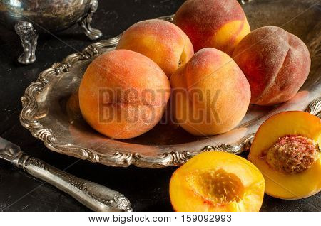 Peaches On A Vintage Platter