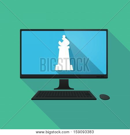 Long Shadow Pc With A Bishop    Chess Figure
