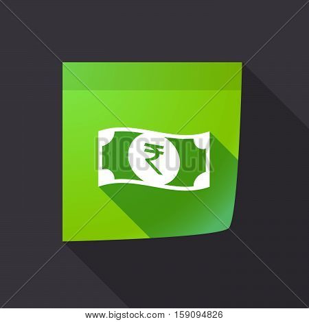 Long Shadow Note With  A Rupee Bank Note Icon