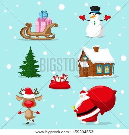 Set of Merry Christmas symbols. Santa Claus snowman deer christmas tree red bag gifts box house sleigh. Design elements for decoration banner poster flyer greeting card. Cartoon style vector