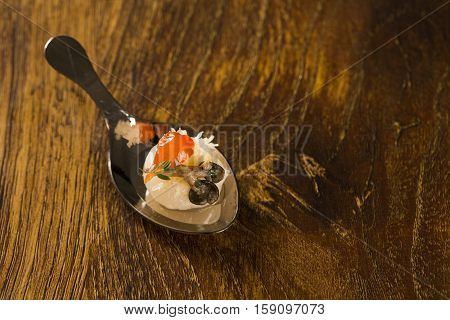 Lychee With Sour Cream, Parmesan Cheese, Shimeji, Red Pepper And Thyme In A Spoon. Taste Gastronomy