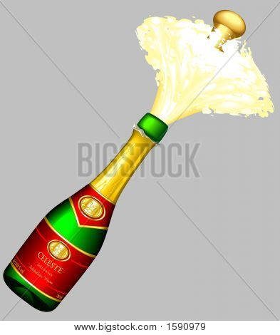 "Illustration of an ""exploding"" bottle of sparkling wine poster"