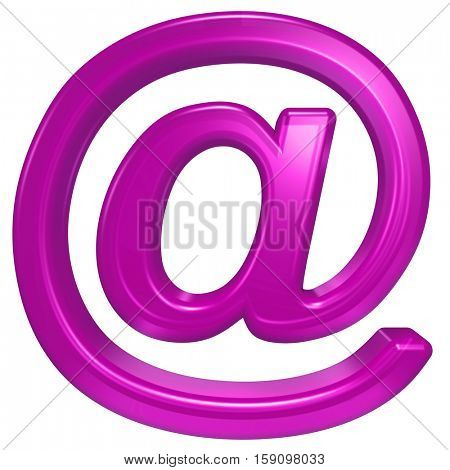 E-mail sign from pink glass alphabet set, isolated on white. 3D illustration.