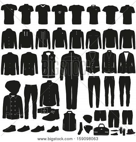 Set of different menswear on a white background
