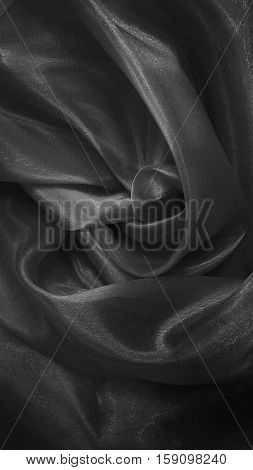 Silk fabric,  grey silk cloth,  black and white, abstraction
