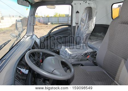 The Interior Of The Truck Cabin Isuzu Inside - Russia, Moscow, 24 September, 2016