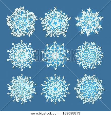 Vector snowflakes set for Christmas design. Vector illustration.