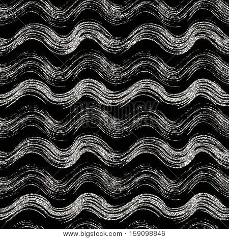 Grunge seamless pattern of silver wave, silvern wavy striped background, hand painted vector design for textile, wallpaper, web, wrapping, wedding, card, paper