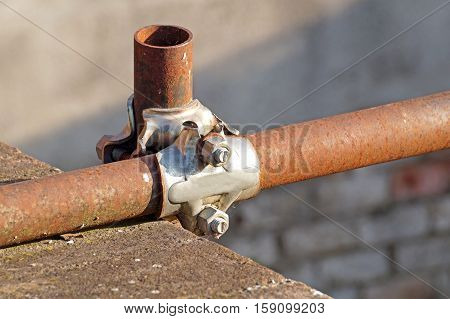 Scaffolding pipe clamp and parts, An important part of building strength to scaffold. poster
