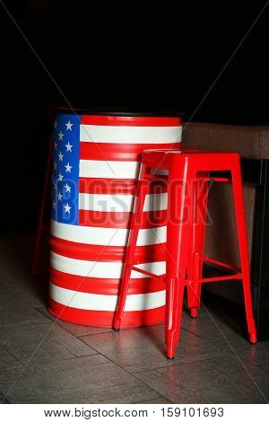 Stars and stripes painted barrel in cafe
