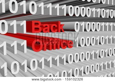 Back Orifice in the form of binary code, 3D illustration