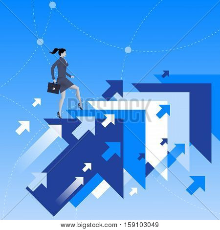 Running up to success business concept. Confident business woman in business suit with case in his hand running up jumping from one flying arrow to another. Successful career successful investment.