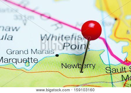 Newberry pinned on a map of Michigan, USA