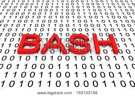 BASH in the form of binary code, 3D illustration