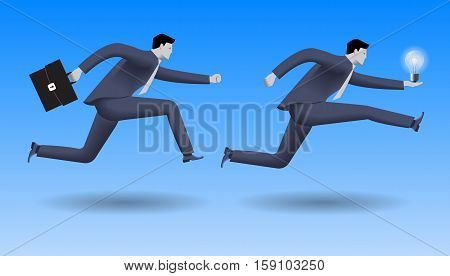 Hot idea business concept. Confident businessman in business suit with case in other chases another businessman with light bulb.