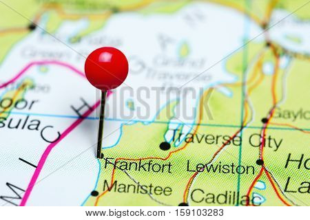 Frankfort pinned on a map of Michigan, USA