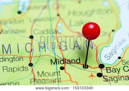 Midland pinned on a map of Michigan, USA