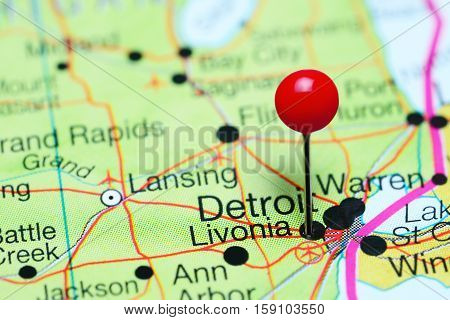 Livonia pinned on a map of Michigan, USA