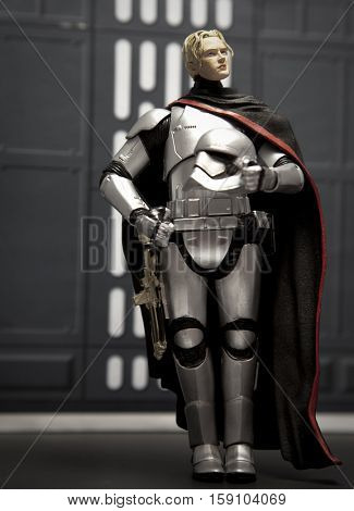 Star Wars Hasbro Black Series action figure - First Order Captain Phasma posing with a Brienne of Tarth head added from a Funko figure. Both characters are portrayed by actress Gwendoline Christie