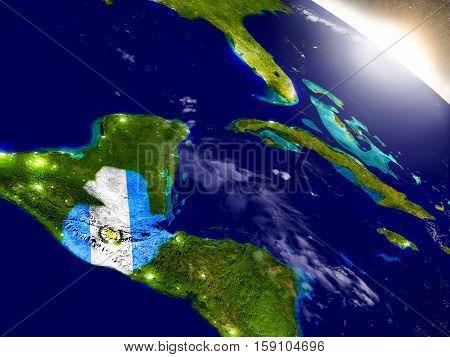 Guatemala With Flag In Rising Sun