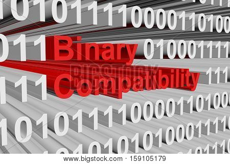 binary compatibility in the form of binary code, 3D illustration