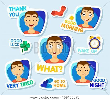 Collection of stickers for chat or sms. Stickers with man. Men with different facial expressions. cartoon funny stickers set. What Good morning thank you Very tired Good night Vector