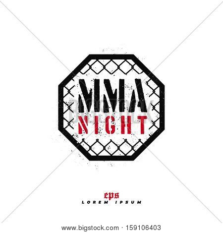 Modern Professional Fighting Logo Design. Mma Night Sign.